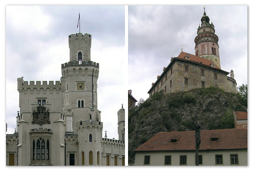 Архитектура Крумлова и замка Глубока над Влтавой.