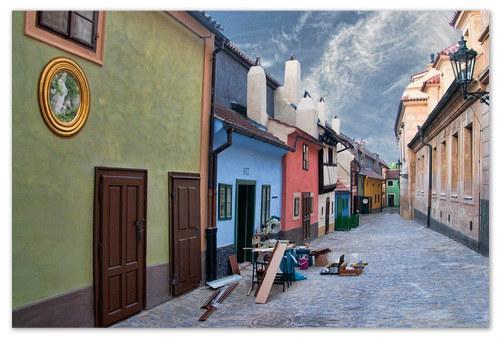 Разноцветные домики. Отелей в Пражском граде нет.