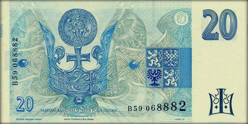 Герб страны изображён на всех купюрах Чешского национального банка. Вышедшая из обращения купюра достоинством двадцать крон.