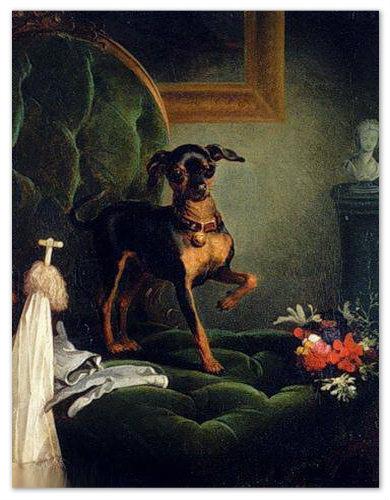 Порода эта царская, как ни крути и с какой стороны не посмотри. Вот и на старинной картине неизвестного чешского художника — собачка наша совсем не в крестьянском интерьере.