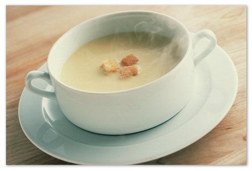 Рецепт чесночного супа пюре с гренками.