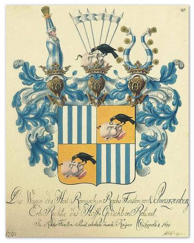 Фамильный герб рода Шварценбергов, которые владели замком с 1660 по 1945 год.