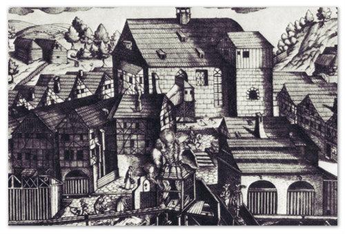 Гейзер — горячий источник. Люди спешат за водой. Гравюра 1652 года.