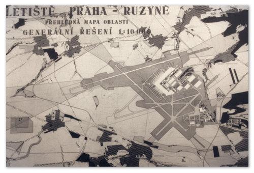 Letiště Praha Ruzyně. Старинный план.