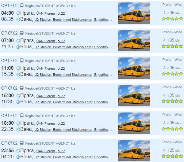Расписание автобусов из Праги до Вены.
