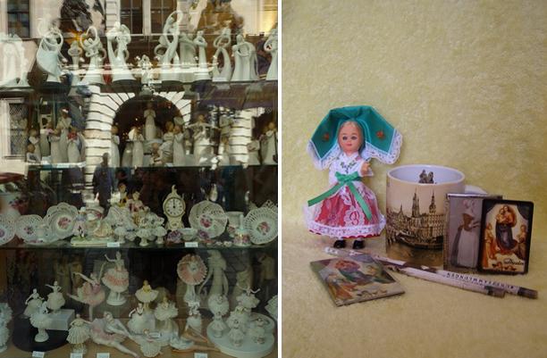 Немецкий фарфор, сувениры из Дрездена и кукла в национальном костюме.