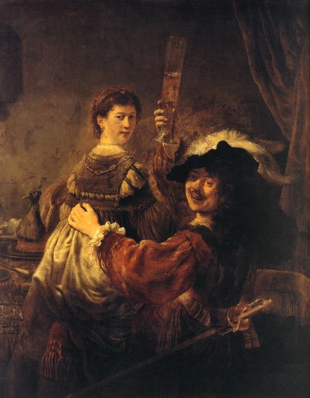 Рембрандт. Автопортрет с Саскией на коленях.